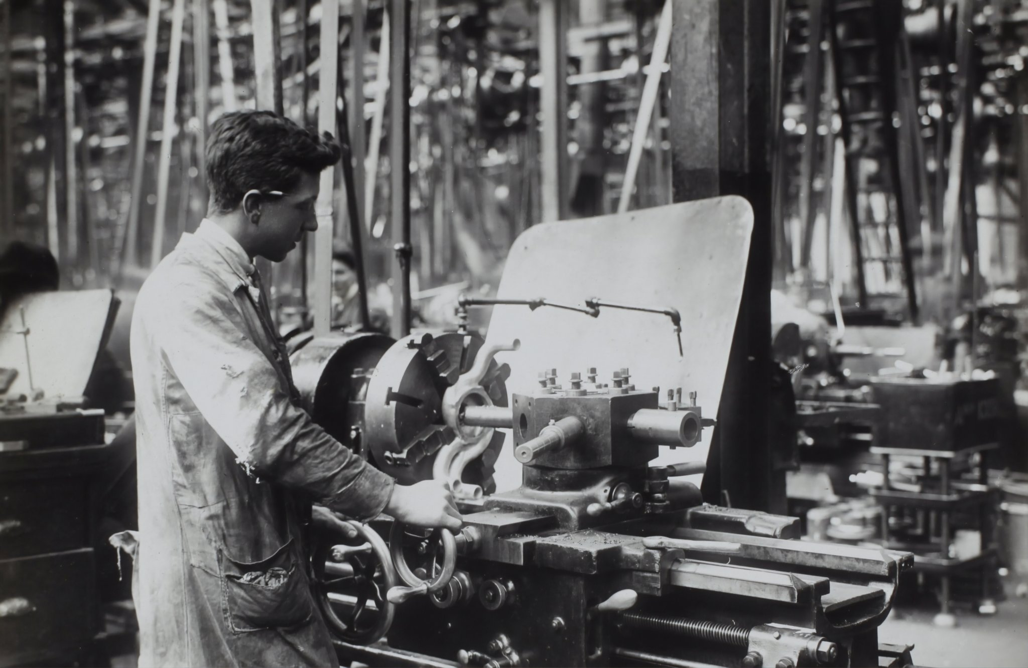 Man working in textile factory